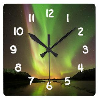 Multicolor Aurora Square Wall Clock