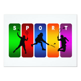 Multicolor Badminton Emblem Card