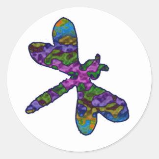 Multicolor Batik Dragonfly Stickers
