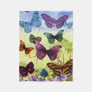 Multicolor Butterfly Watercolor Painting Fleece Blanket