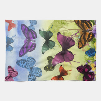 Multicolor Butterfly Watercolor Painting Kitchen Towel