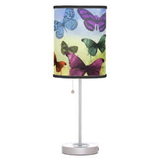 Multicolor Butterfly Watercolor Painting Table Lamp