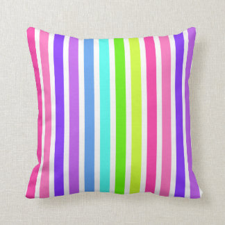 Multicolor Candy Stripes Throw Pillow