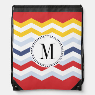 Multicolor Chevron Design Drawstring Bag