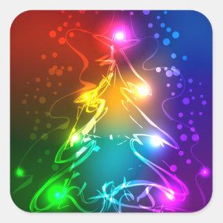 Multicolor Christmas Tree Square Sticker