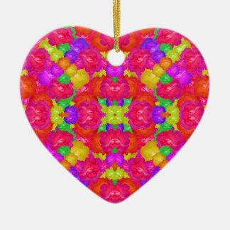 Multicolor Floral Check Ceramic Heart Ornament