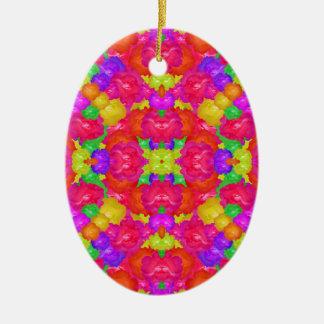Multicolor Floral Check Ceramic Oval Ornament