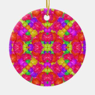 Multicolor Floral Check Round Ceramic Ornament