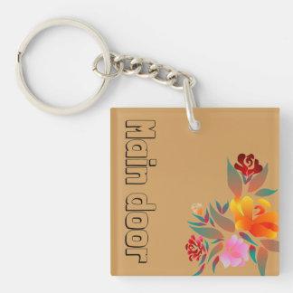 Multicolor, floral pattern, monogram keychain