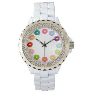 Multicolor Floral White Enamel Rhinestone Watch