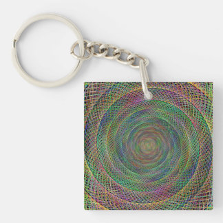 Multicolor fractal spiral Single-Sided square acrylic keychain