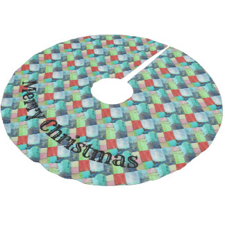 Multicolor Gems Mosaic Look Tree Skirt Turquoise
