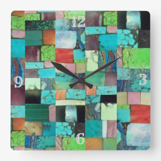 Multicolor Gemstone Mosaic Look Clock Turquoise