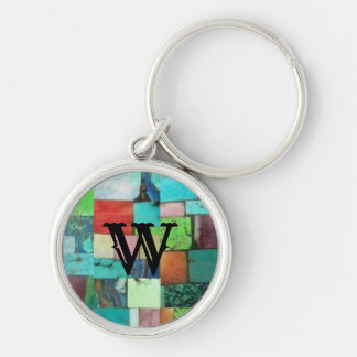 Multicolor Gemstone Mosaic Look Keychain Turquoise