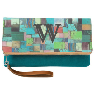 Multicolor Gemstone Mosaic Look Purse Turquoise