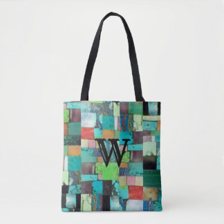 Multicolor Gemstone Mosaic Look Tote Turquoise