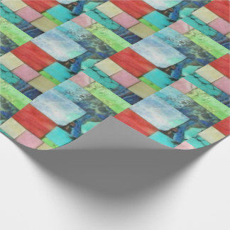 Multicolor Gemstone Mosaic Look Turquoise Wrap Wrapping Paper