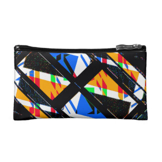 Multicolor Geometric Abstract Pattern Cosmetic Bag
