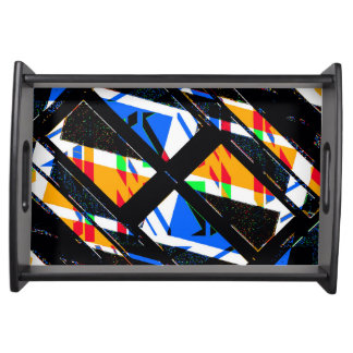Multicolor Geometric Abstract Pattern Serving Tray