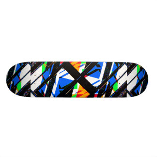 Multicolor Geometric Abstract Pattern Skateboard Deck