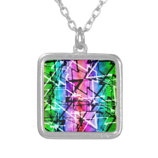 Multicolor Geometric Grunge Silver Plated Necklace