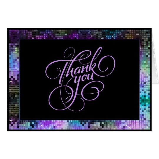 Multicolor Glitter And Sparkles Thank You Card
