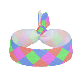 Multicolor Green/Red/Yellow/Blue Square Pattern Hair Tie