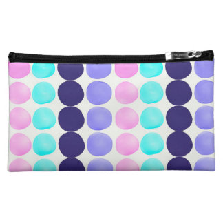 Multicolor hand painted watercolor dots cosmetics bags