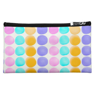 Multicolor hand painted watercolor dots makeup bag