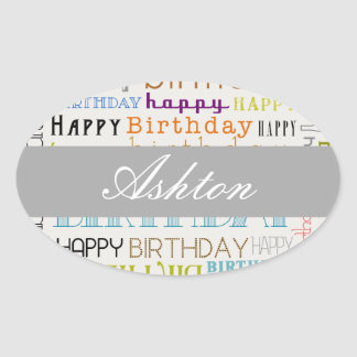 Multicolor Happy Birthday Text Stickers (Oval)