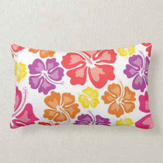 Multicolor Hawaiian Hibiscus Flower Throw Pillow