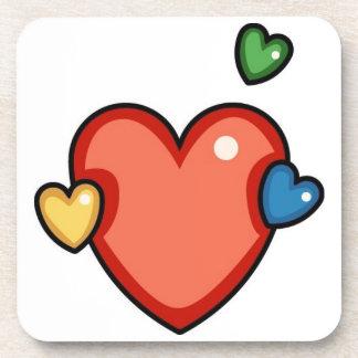 Multicolor Hearts Beverage Coaster