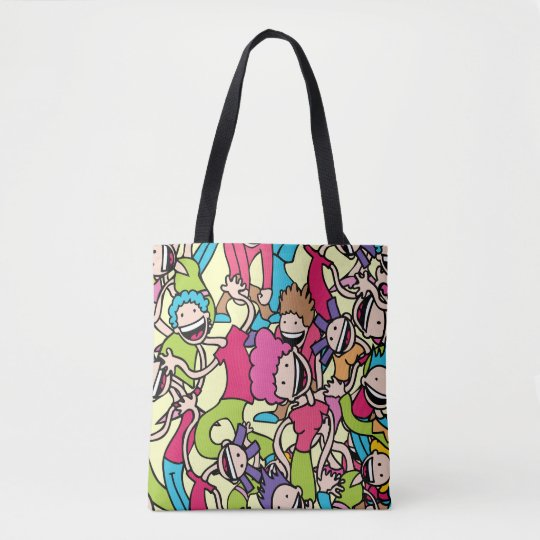 Multicolor Laughing Children Cartoon Print Tote Bag