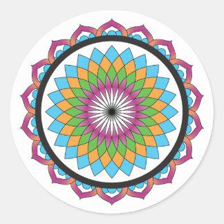 Multicolor Lotus Classic Round Sticker