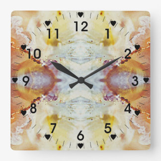 Multicolor Marble Pattern Square Wall Clock