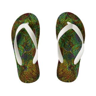 Multicolor metallic floral pattern kid's flip flops