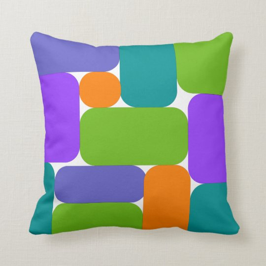 Multicolor Mid-Century Modern Geo Throw Pillow