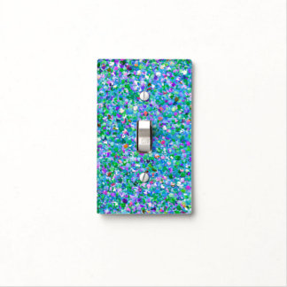 Multicolor Mosaic Modern Grit Glitter #2 Light Switch Cover