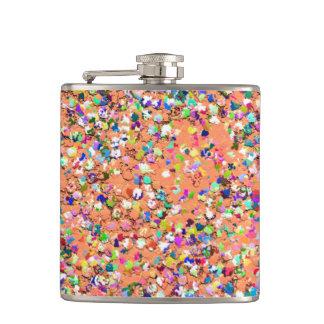 Multicolor Mosaic Modern Grit Glitter #5 Hip Flask