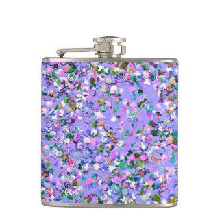 Multicolor Mosaic Modern Grit Glitter #6 Hip Flask