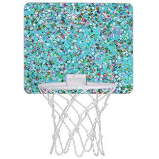 Multicolor Mosaic Modern Grit Glitter #7 Mini Basketball Hoop