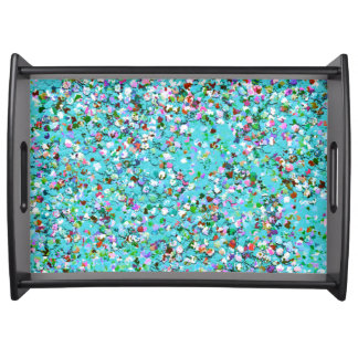 Multicolor Mosaic Modern Grit Glitter #7 Serving Tray