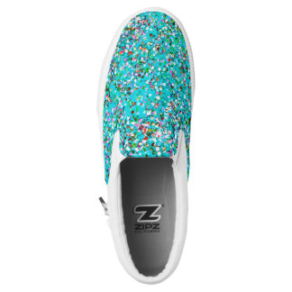 Multicolor Mosaic Modern Grit Glitter #7 Slip-On Sneakers