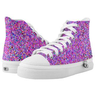 Multicolor Mosaic Modern Grit Glitter #8 High Tops