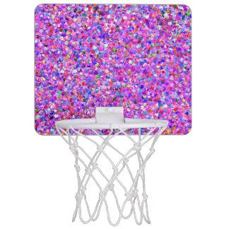 Multicolor Mosaic Modern Grit Glitter #8 Mini Basketball Hoop