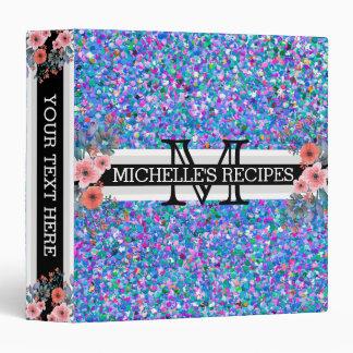 Multicolor Mosaic Modern Grit Glitter Monogram Binders