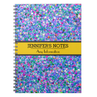 Multicolor Mosaic Modern Grit Glitter Notebook