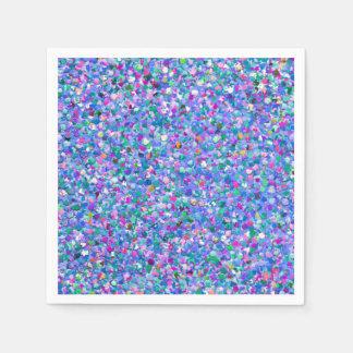 Multicolor Mosaic Modern Grit Glitter Paper Napkins