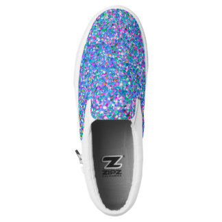 Multicolor Mosaic Modern Grit Glitter Slip-On Sneakers
