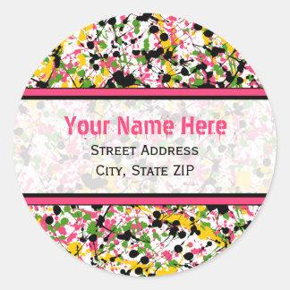 Multicolor Paint Splatter Address Labels